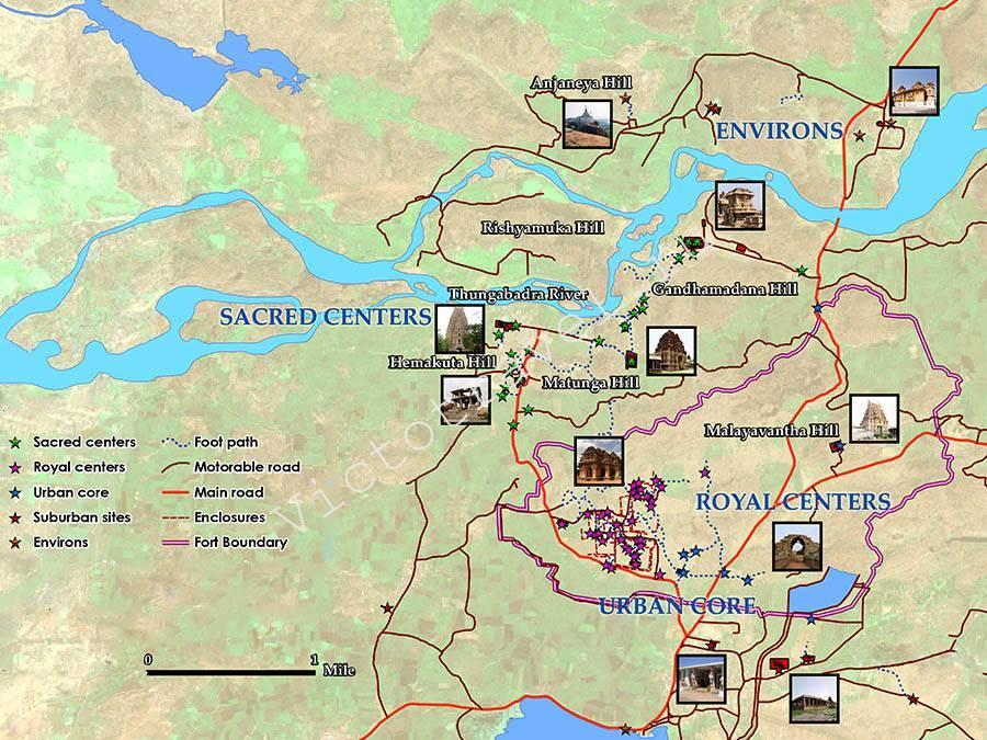 карта достопримечательностей Хампи, Индия