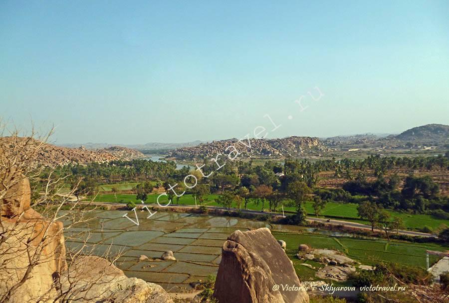пейзаж, рисовые поля, Хампи, Индия
