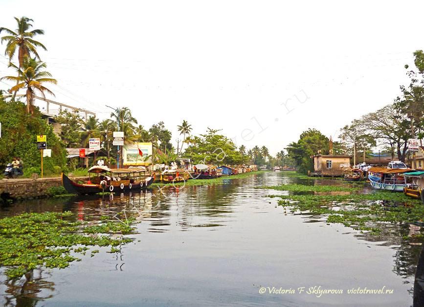 Алапуджа - водная гладь, Керала, Индия