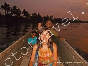 я в лодке, Алапуджа, Керала, Индия