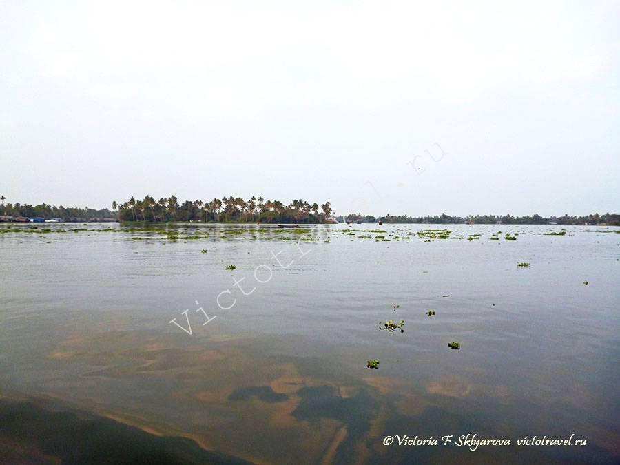 отражение неба в водах озера в Адапудже. Керала