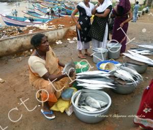 рыбный рынок, Каньякумари, Индия