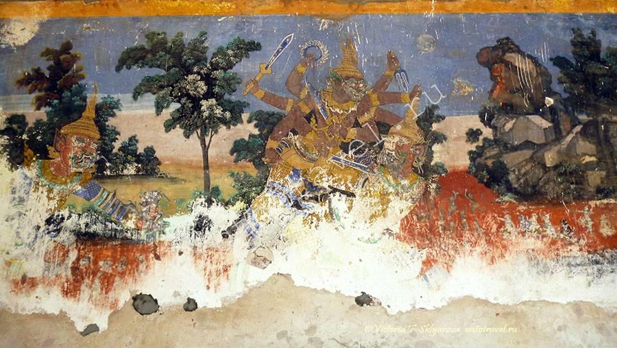 фрески роспись в галерее у Серебряной пагоды, Пномпень, Камбоджа