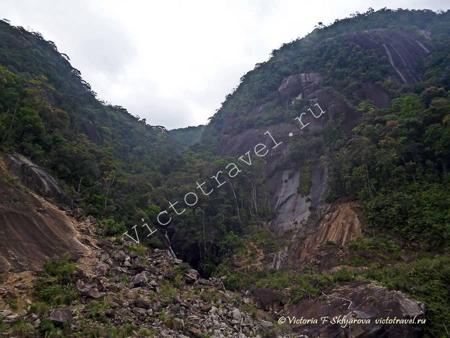 горы, лес, водопад по дороге Далат-Нячанг, Вьетнам