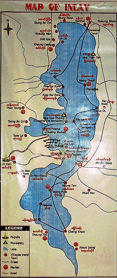 озеро Инле, карта, Мьнма