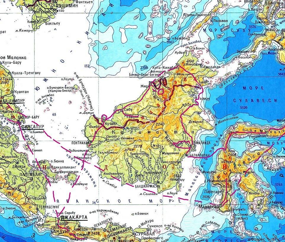 карта острова Калимантан (Борнео)