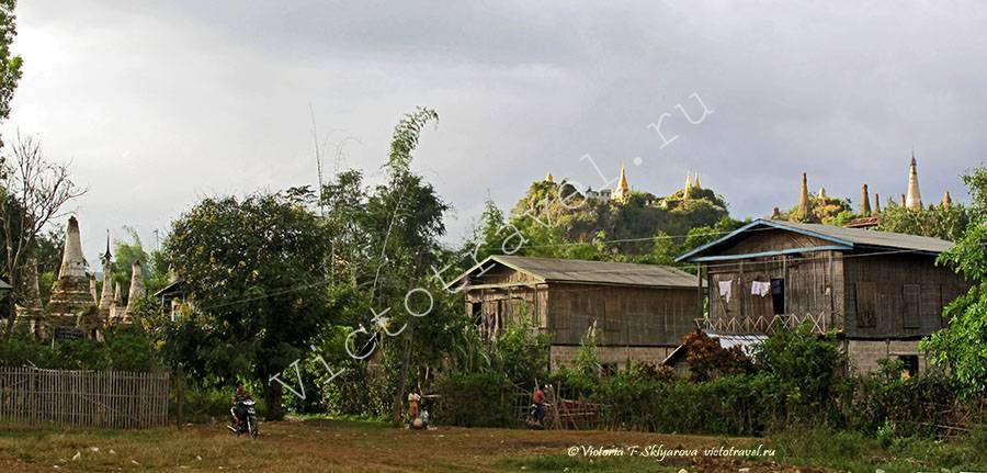 Деревня, пагоды Индейн, озеро Инле, Мьянма, Inle-Indein