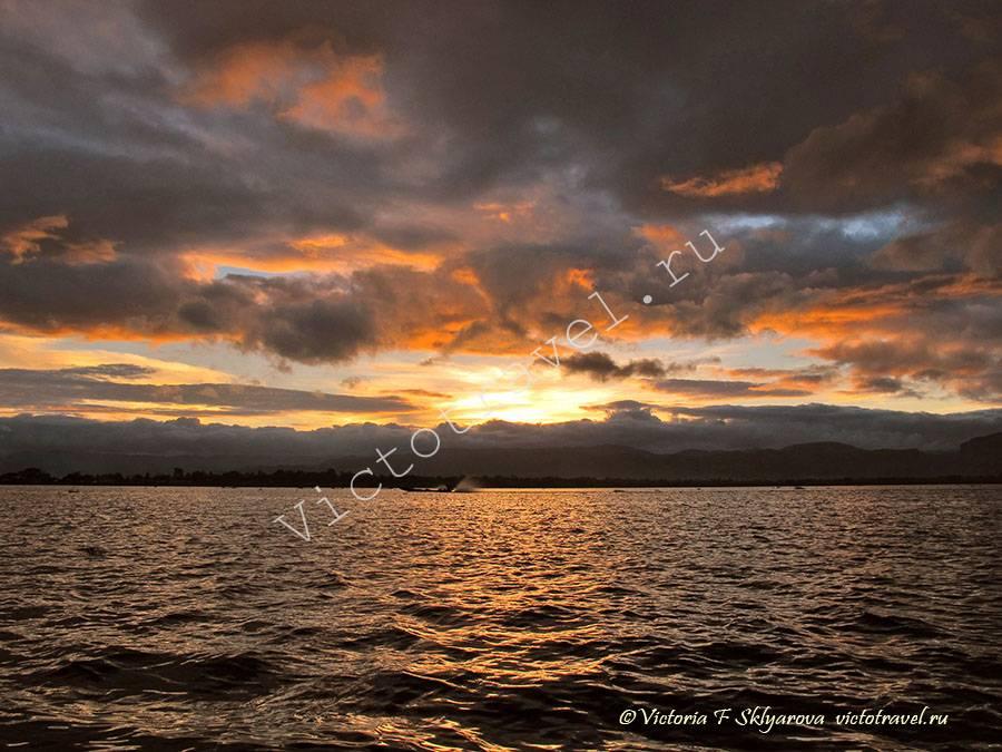 вечер, закат, Озеро Инле Мьянма