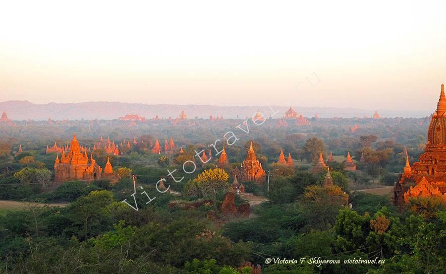 Рассвет над храмами Багана, Мьянма