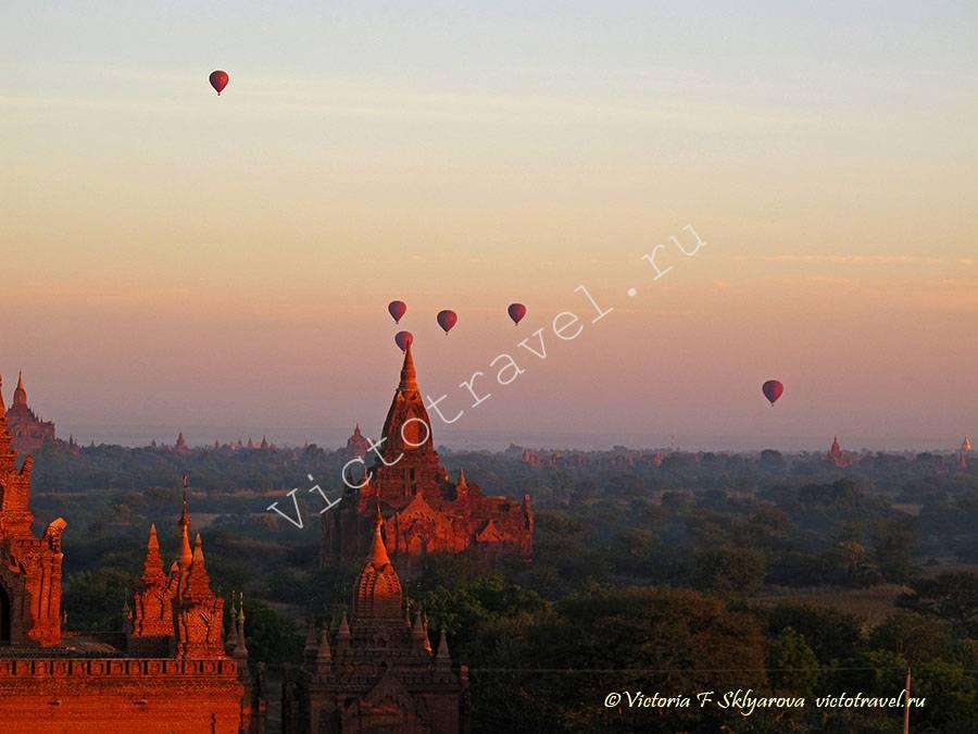 Храмы, Пагоды, рассвет в Багане, Красота, Мьянма
