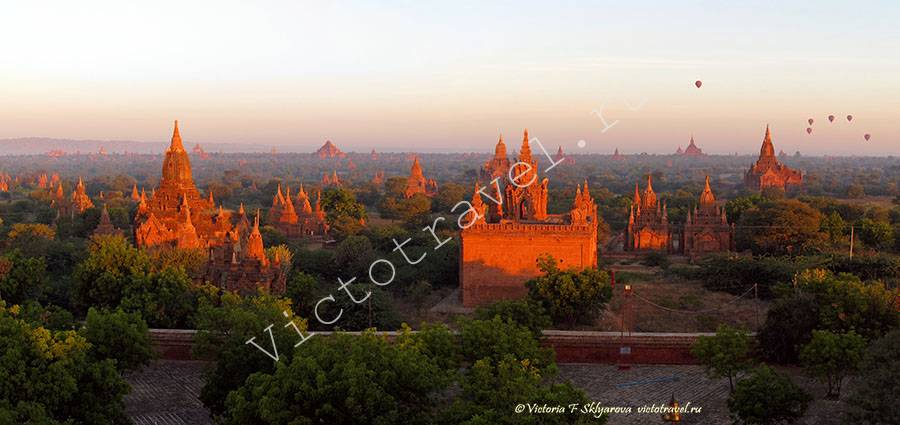 Встретила рассвет на верху храма, Баган, Мьянма