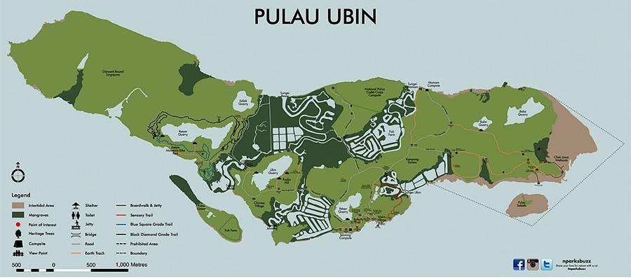 карта острова Пулау убин, Сингапур