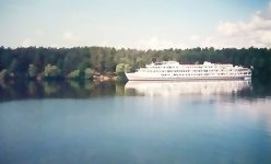 корабль, река, лес