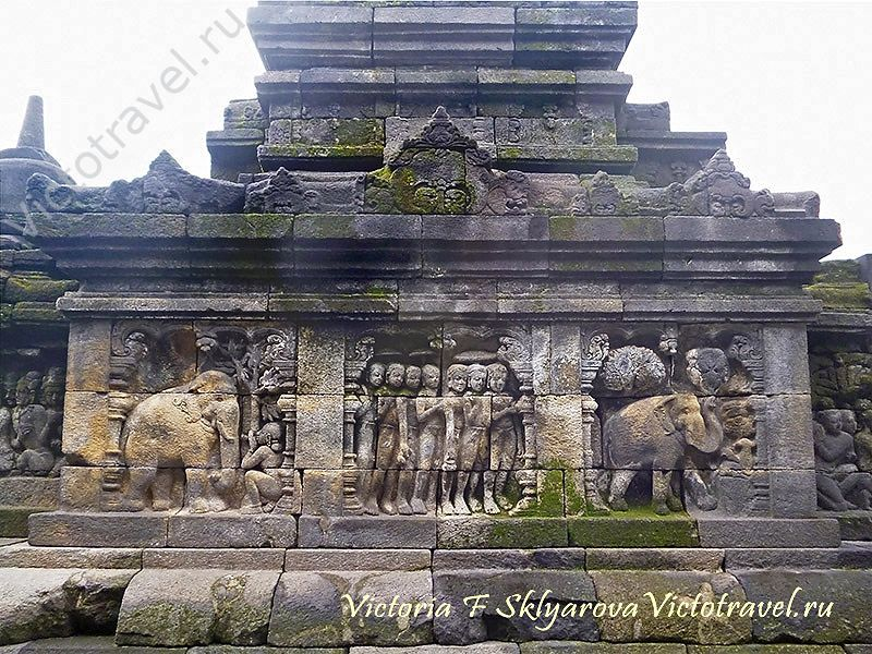 барельеф в храме Боробудур, Индонезия