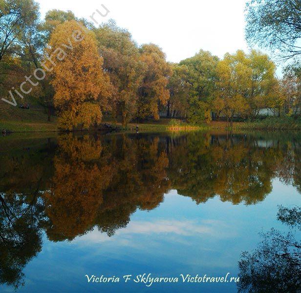 пруд в Москве, деревья, осень