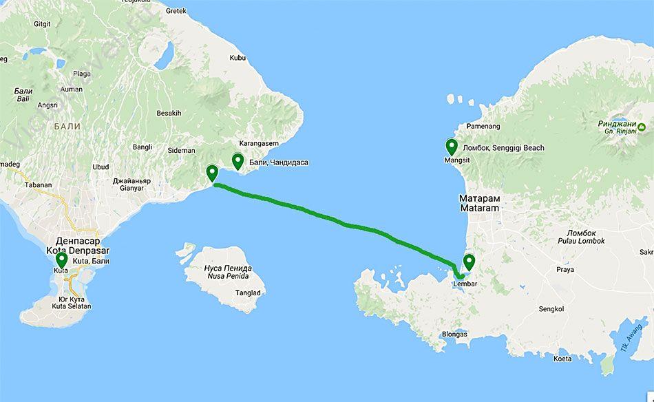 Паром с Бали на Ломбок, Индонезия