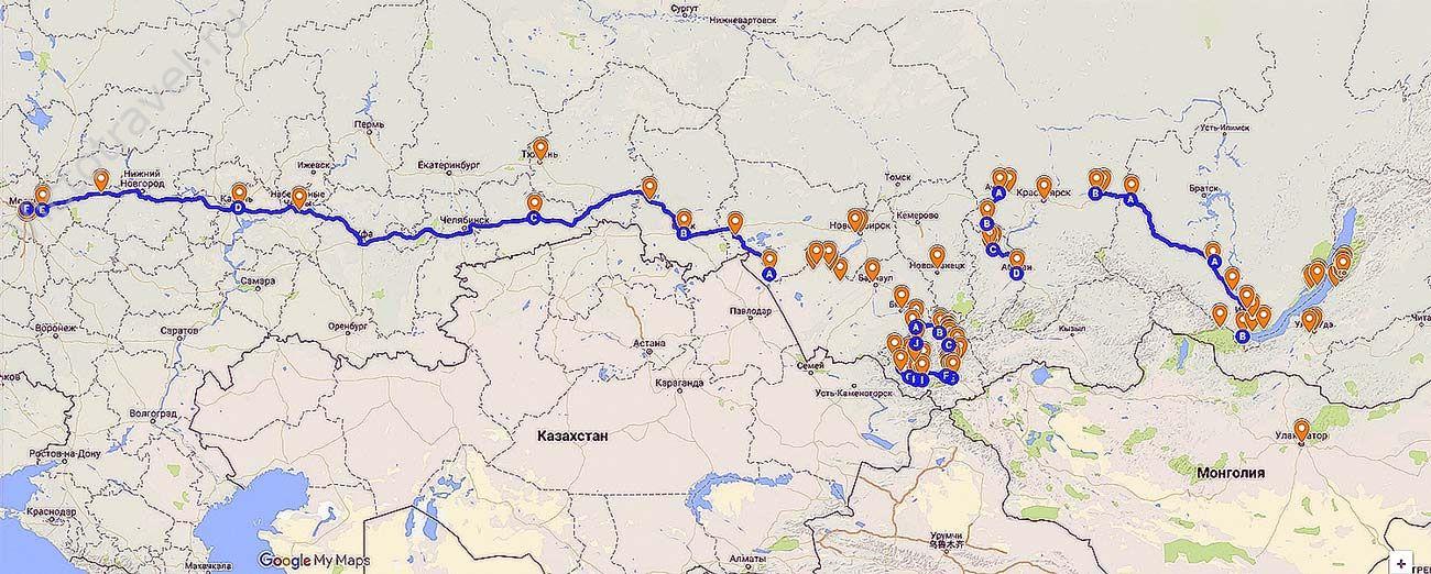 маршрут путешествия Байкал Алтай